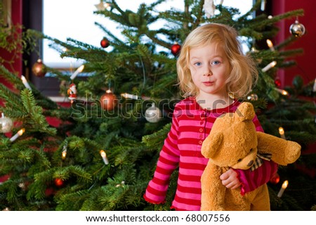 little girl with teddy in front of christmas