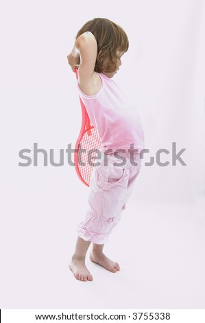little girl with tennis racket, isolated on white