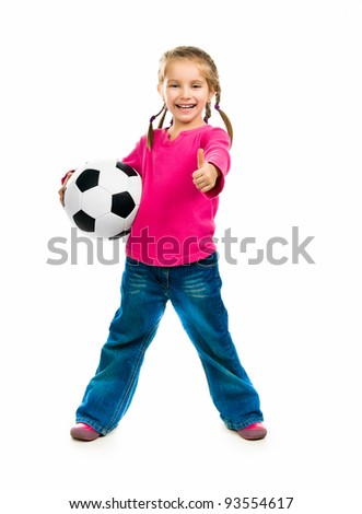 Little girl  with the ball over white backgrounf