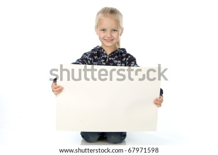 Little girl with the big pure clean sheet of a paper