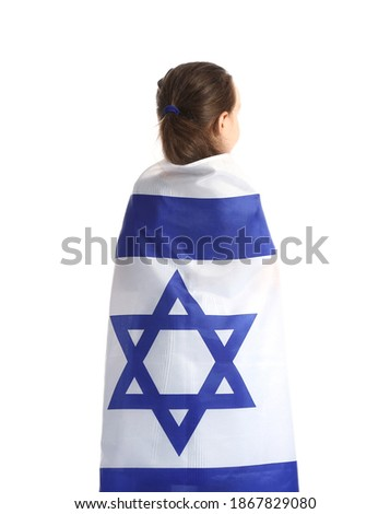 Little girl with the flag of Israel on white background Stok fotoğraf ©