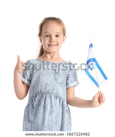 Little girl with the flag of Israel showing thumb-up on white background Stok fotoğraf ©