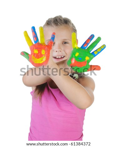 little girl with the palms painted by a paint. Isolated on white