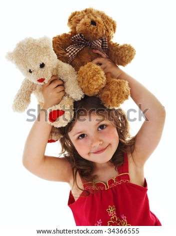Little girl with toys - stock photo