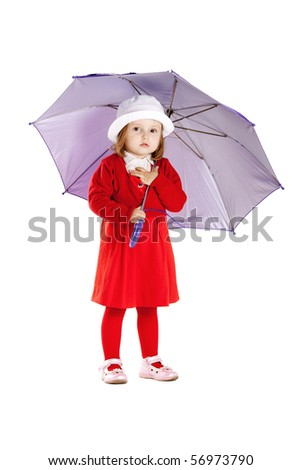 little girl with umbrella isolated on white