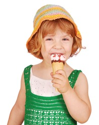 little girl with vanilla ice cream