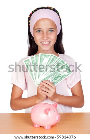 Little girl with with with dollar bills isolated on white background