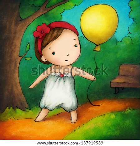 Little girl with yellow balloon in the park.