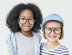 Little Girls Friendship Fun Happiness Retro Togetherness Concept