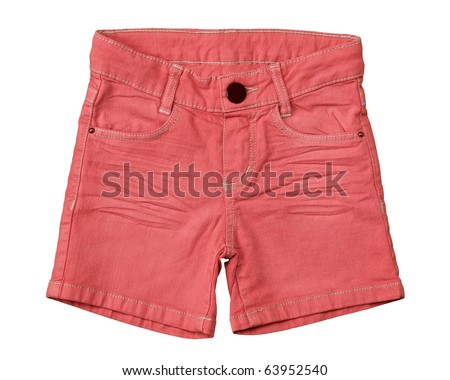 little girls jean shorts on white background, orange pink color