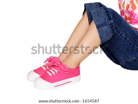 Little Girls Play Clothes And Shoes - stock photo