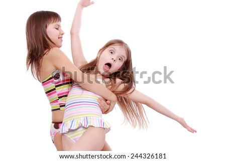 df5cf6ad9f702 Lovely little girls wearing swimsuits… Stock Photo 193460522 ...