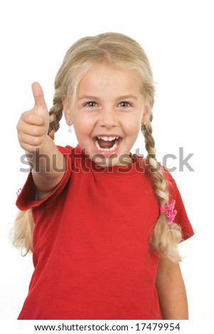 little giving thumbs up sign on white background