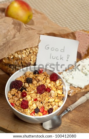 Little good luck note on a breakfast table for graduation; first day at school or work