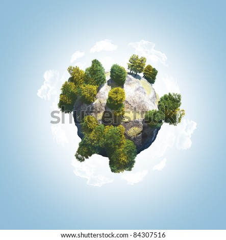 Little green planet with  trees