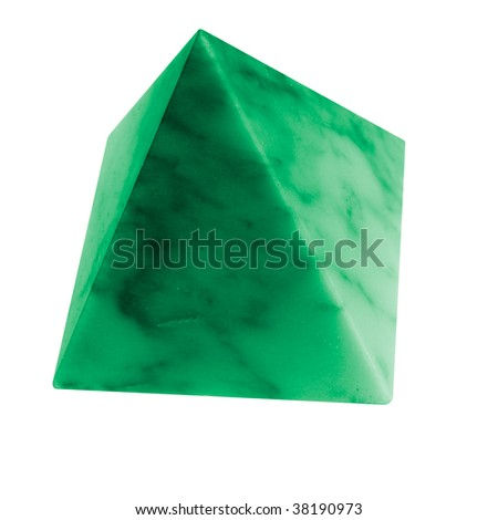 little green pyramid of marble, smooth stone