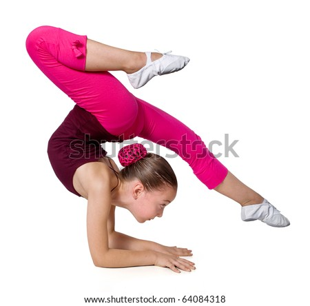 little gymnast on a white background.sporting exercise .stretch.flexibility.aerobics