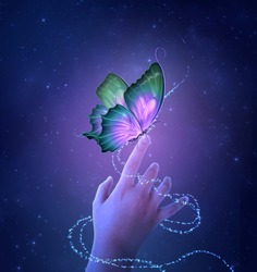 Little hand with fantasy butterfly on a starry night. Photomanipulation. 3D render.