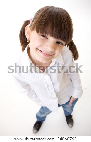 Little happy fun girl  isolated over a White Background top view