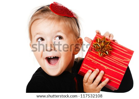 little happy girl with gift