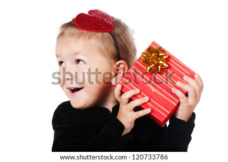 little happy girl with gift isolated on white background