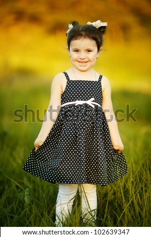 little happy summer girl