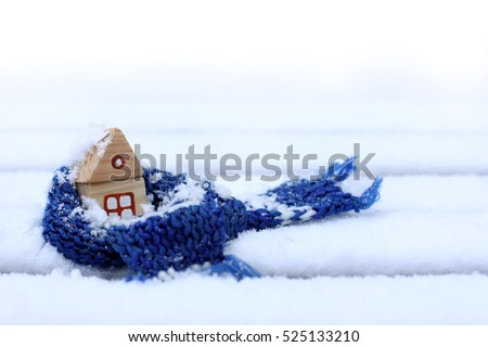 little house in a warming scarf, strewn with snow / comfortable accommodation in winter weather #525133210