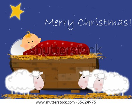 Little Jesus and sheep