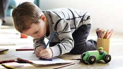 Little Kid Drawing Sketching Cute Adorable