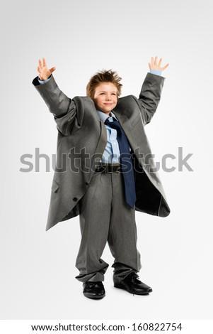 Little Kid playing Businessman