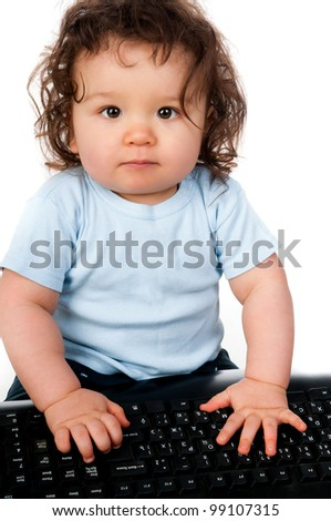 little kid with a computer keyboard on white