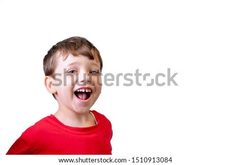 Little kid with broad smile face portrait isolated  on white background. Boy wearing red cloth and smiling. Child is very happy picture. Happiness and joy concept. Cheerful children, joyful childhood. #1510913084