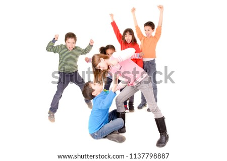 little kids bullying another kid isolated in white #1137798887