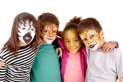 little kids with face painted as a tiger isolated in white
