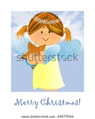 Little kind angel with star,illustration to Christmas
