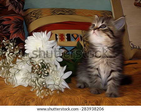 Little kitty looking up with white flowers near him on the bed in the room