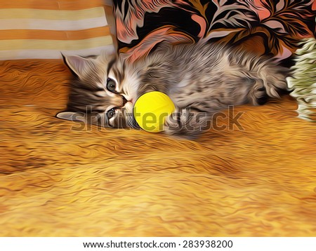 Little kitty playing with a small yellow ball on the bed in the room