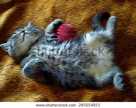 Little kitty sleeping on the back with the striped pink ball in his paws