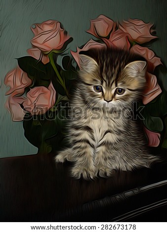 Little kitty with a bunch of beautiful pink roses behind him