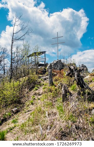 Little Kohut hill with double cross and wooden shelter, Stolica mountains, Slovak republic. Hiking theme. Zdjęcia stock ©