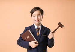 Little lawyer with judge gavel and book on color background
