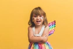 little little girl dressed for carnival.