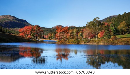 Little Long Pond Amid The Colors Of Autumn, Acadia National Park, Maine, USA