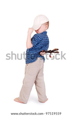 Little madcap with a slingshot in his back isolated on white - stock photo