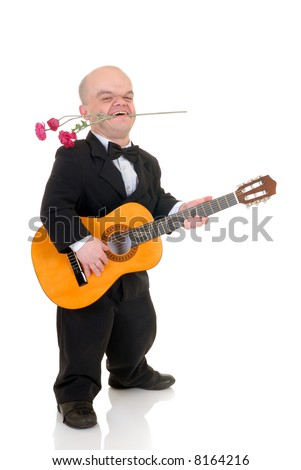 Little man, Don Juan dwarf with valentine rose and guitar, studio shot, white background