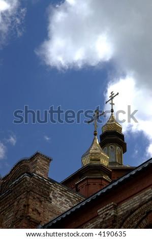 little monastery with nice clouds. Putivl's a monastery. Ukraine.