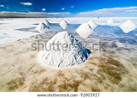 Little mountains of salt in Salar de Uyuni in Bolivia