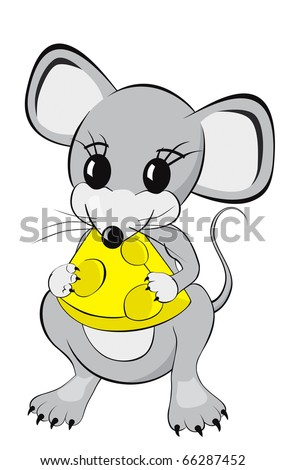 Little mouse cartoon character eating a piece of cheese Isolated on white background - stock photo