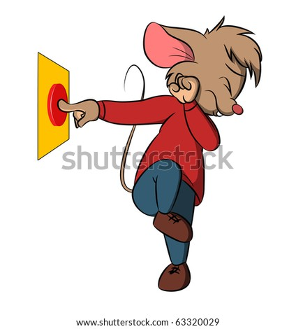 Little mouse push danger button. For vector version see my portfolio.