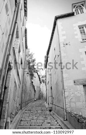Little narrow street in Blois, Loire-et-Cher, Centre, France